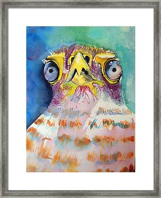 Framed Print featuring the painting Bugeyed Baby Bird by Karen bertha Calderon