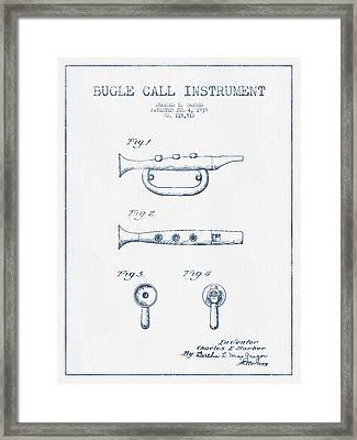 Bugle Call Instrument Patent Drawing From 1939 - Blue Ink Framed Print by Aged Pixel
