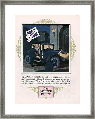 Buick 1926 1920s Usa Cc Cars Framed Print by The Advertising Archives