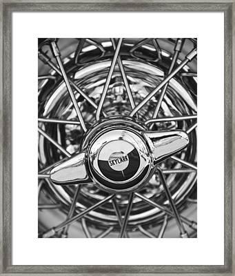 Buick Skylark Wheel Black And White Framed Print by Jill Reger