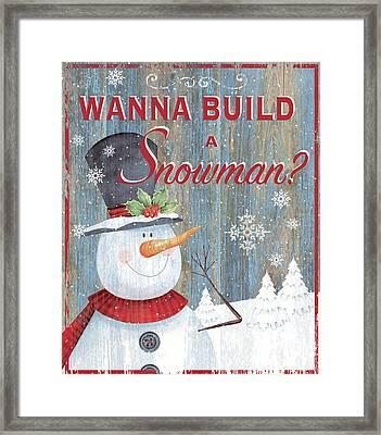 Build A Snowman Framed Print by P.s. Art Studios