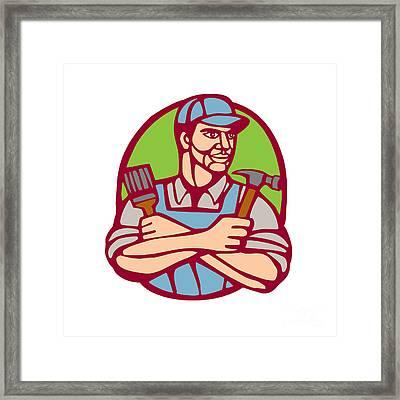 Builder Carpenter Paintbrush Hammer Linocut Framed Print