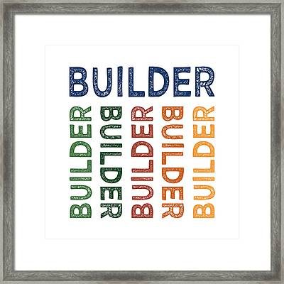 Builder Cute Colorful Framed Print by Flo Karp