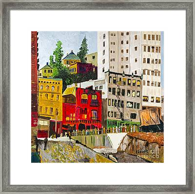 Building A City By Stan Bialick Framed Print by Sheldon Kralstein
