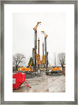 Building A New Sewer System Framed Print by Ashley Cooper