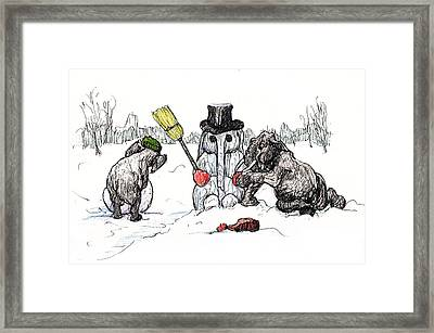 Building A Snow Elephant Framed Print