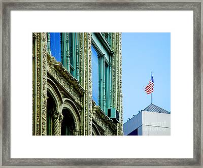 Building And Flag Framed Print