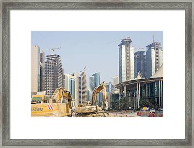 Building Doha's Commercial Heart Framed Print by Paul Cowan
