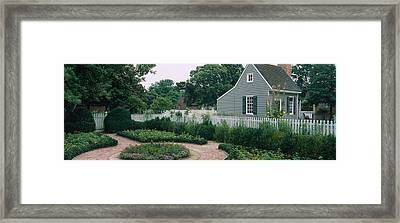 Building In A Garden, Williamsburg Framed Print