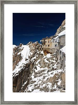 Framed Print featuring the photograph building in Aiguille du Midi - Mont Blanc by Antonio Scarpi
