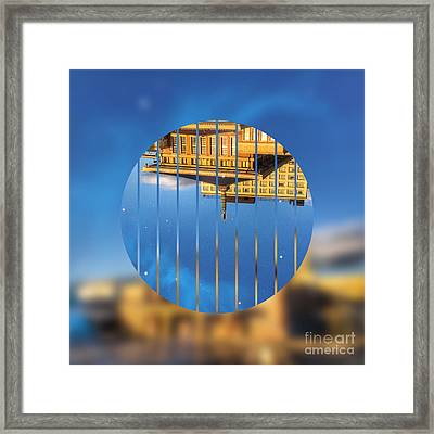 Building In The Morning With Starry Night Sky Framed Print