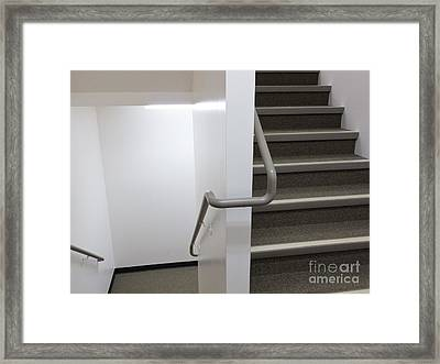 Building Interior White Staircase With Handrails Framed Print by Stephan Pietzko