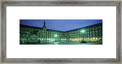 Building Lit Up At Dusk, Plaza Mayor Framed Print by Panoramic Images