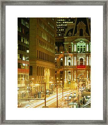 Building Lit Up At Night, City Hall Framed Print by Panoramic Images