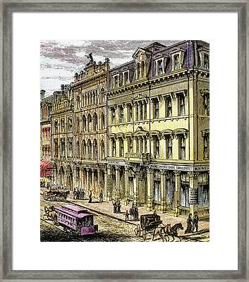Building Maine Savings Bank On Middle Framed Print by Prisma Archivo