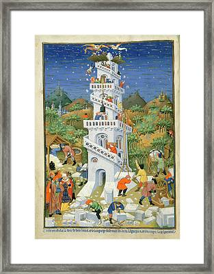 Building Of The Tower Of Babel Framed Print by British Library