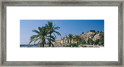 Building On The Waterfront, Menton Framed Print