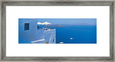 Building On Water, Boats, Fira Framed Print by Panoramic Images