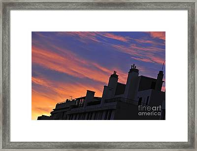 Building Silhouette By Cloudscape At Sunrise Framed Print by Sami Sarkis