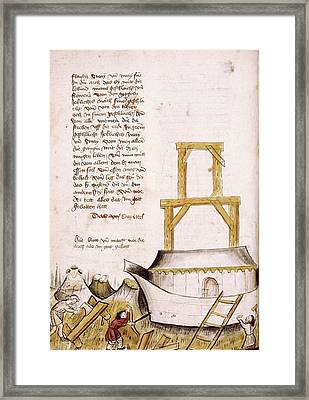 Building The Ark Framed Print by Renaissance And Medieval Manuscripts Collection/new York Public Library