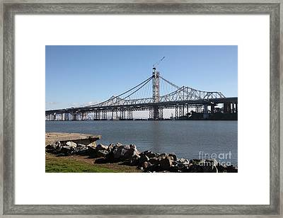 Building The New San Francisco Oakland Bay Bridge - 5d20943 Framed Print by Wingsdomain Art and Photography