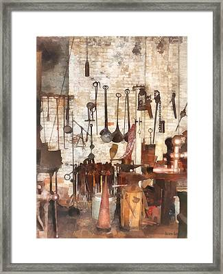 Building Trades - Hand Tools In Machine Shop Framed Print by Susan Savad