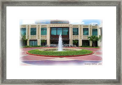 Framed Print featuring the digital art Building With Fountain Painting by Richard Zentner