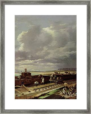 Building Work On A Railway Line, 1871 Oil On Canvas Framed Print by Vasili Vladimirovits Pukirev
