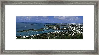 Buildings Along A Coastline, Bermuda Framed Print