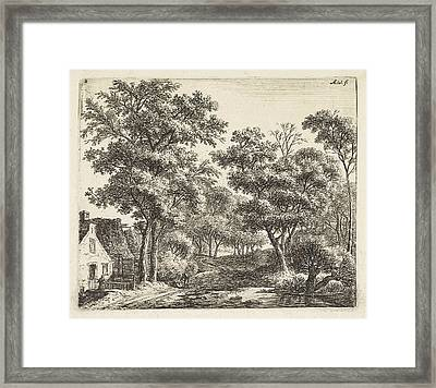 Buildings Along A Forest Trail, Anthonie Waterloo Framed Print by Anthonie Waterloo And Cornelis Danckerts (ii) And Josua & Reinier Ii Ottens