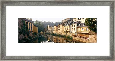 Buildings Along A River, Alzette River Framed Print by Panoramic Images