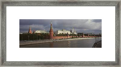 Buildings Along A River, Grand Kremlin Framed Print