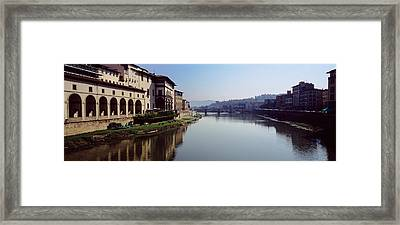 Buildings Along A River, Uffizi Museum Framed Print by Panoramic Images