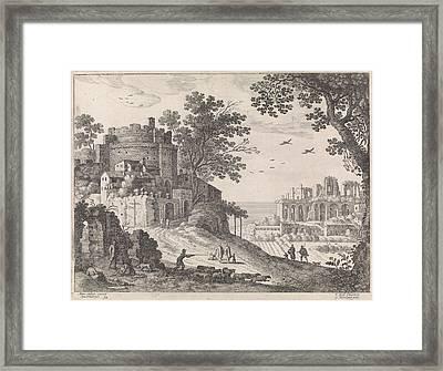 Buildings Along A Road, William Of Nieulandt II Framed Print