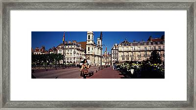 Buildings Along A Street, Besancon Framed Print by Panoramic Images
