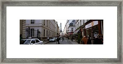 Buildings Along A Street With A Tower Framed Print by Panoramic Images