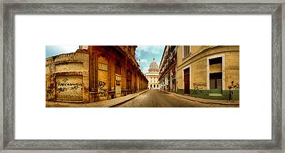 Buildings Along Street, El Capitolio Framed Print