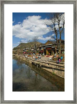 Buildings Along Yu River Canal, Old Framed Print
