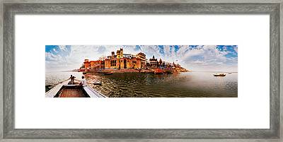 Buildings At Riverbank Viewed Framed Print by Panoramic Images