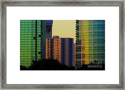 Buildings At Sunset Framed Print