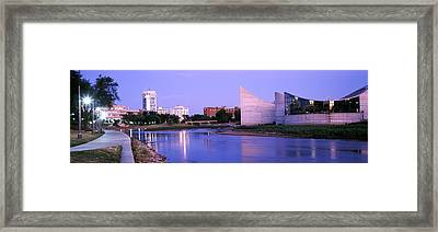 Buildings At The Waterfront, Arkansas Framed Print