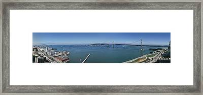 Buildings At The Waterfront, Golden Framed Print by Panoramic Images