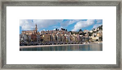 Buildings At The Waterfront, Menton Framed Print by Panoramic Images