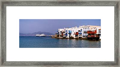 Buildings At The Waterfront, Mykonos Framed Print