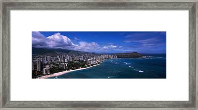 Buildings At The Waterfront, Waikiki Framed Print