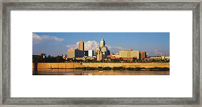 Buildings At The Waterfront, White Framed Print