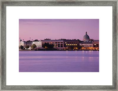 Buildings At Waterfront, Us Naval Framed Print by Panoramic Images