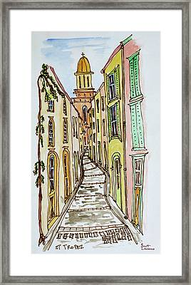 Buildings Crowd The Narrow Streets Framed Print