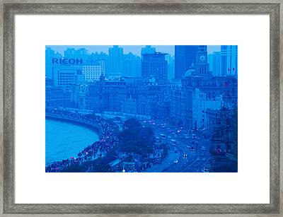 Buildings In A City At Dusk, The Bund Framed Print