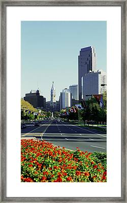 Buildings In A City, Benjamin Franklin Framed Print by Panoramic Images